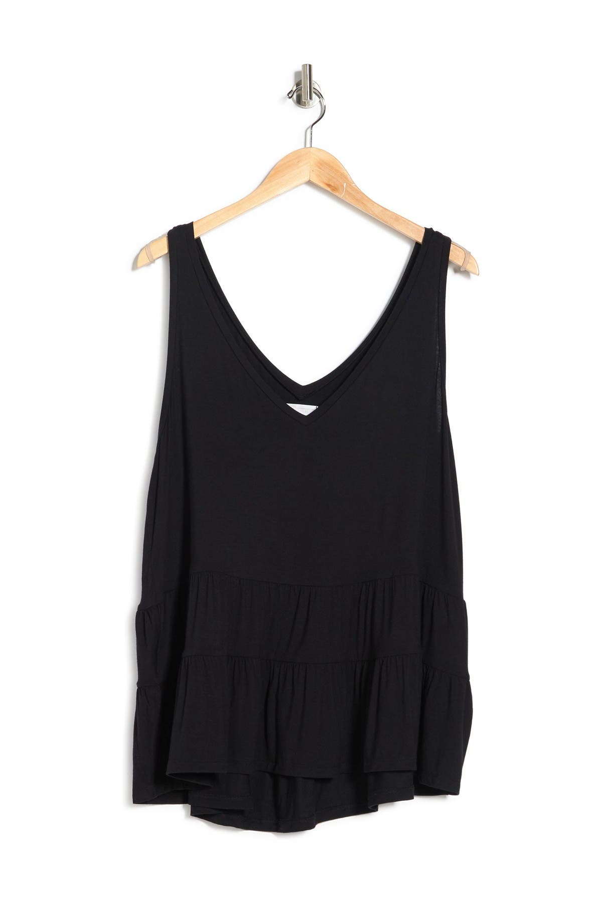 14th & Union Tops DOUBLE V-NECK SLEEVELESS TIERED TOP