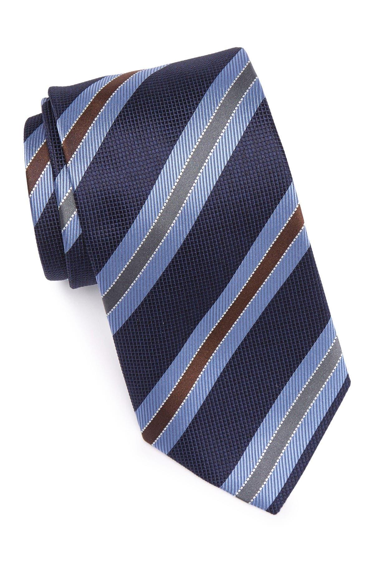 Image of Eton Stripe Print Silk Tie
