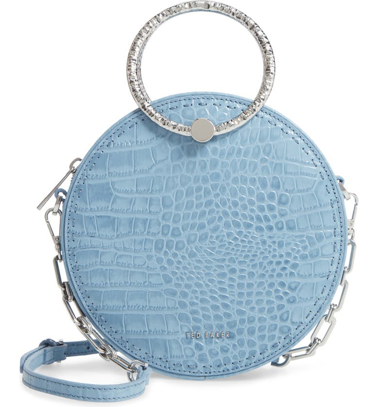 TED BAKER LONDON Millah Croc Embossed Round Leather Crossbody Bag, Main, color, 461