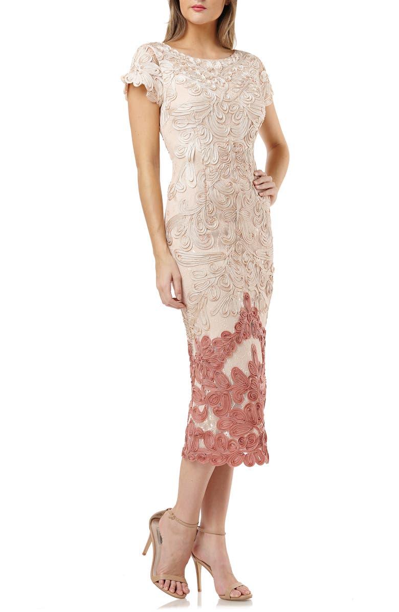 JS COLLECTIONS Soutache Lace Midi Dress, Main, color, PORCELAIN CLAY