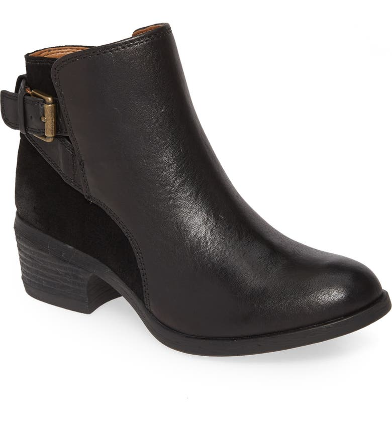 COMFORTIVA Creston Bootie, Main, color, BLACK LEATHER/ SUEDE