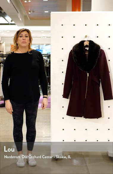 Asymmetrical Wool Coat with Faux Fur Collar, sales video thumbnail