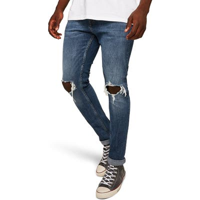 Topman Polly Ripped Stretch Skinny Fit Jeans