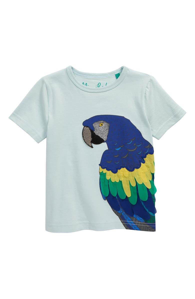 MINI BODEN Textured Animal Appliqué T-Shirt, Main, color, FRESH WATER BLUE PARROT