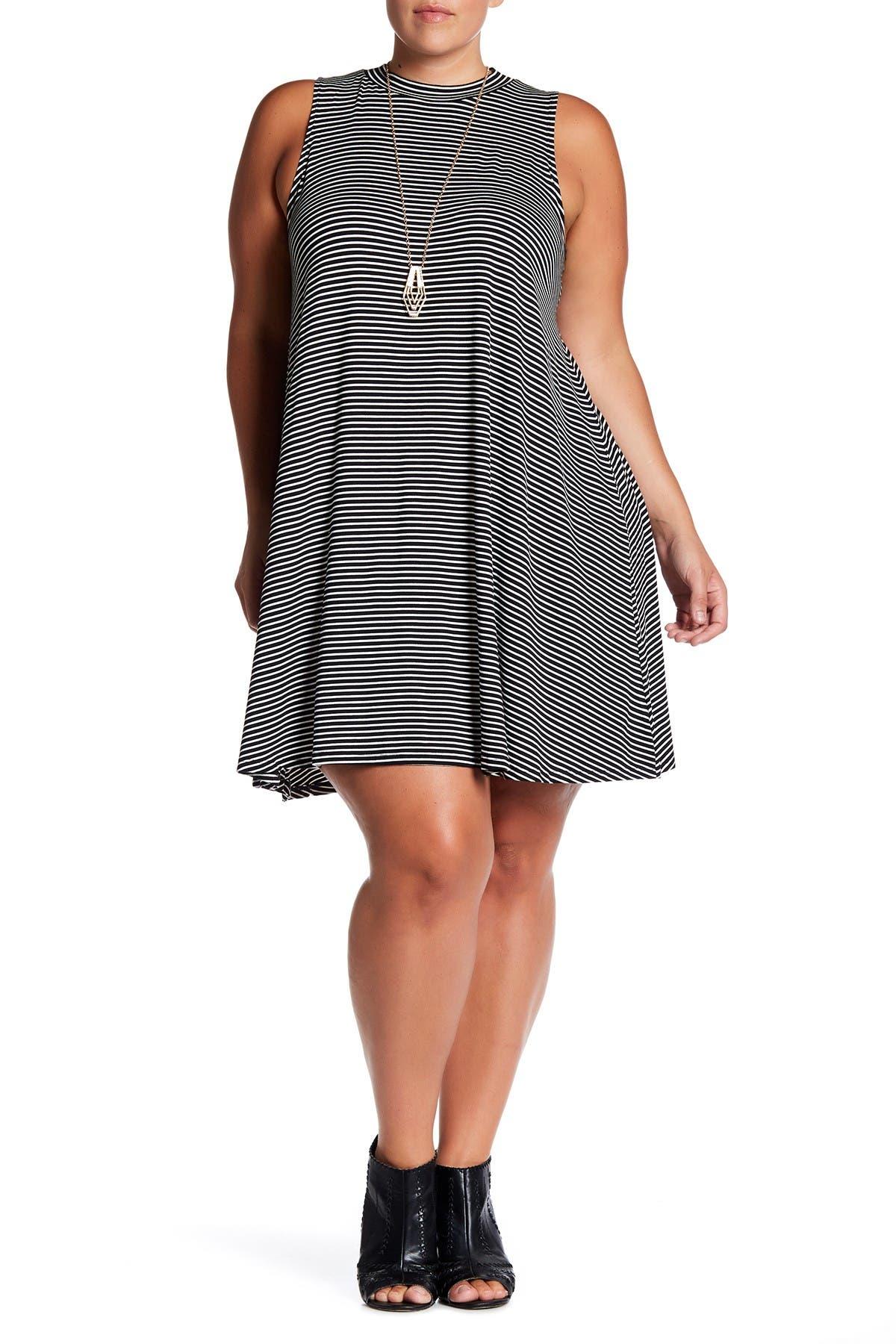 Image of Want & Need Sleeveless Striped Trapeze Dress