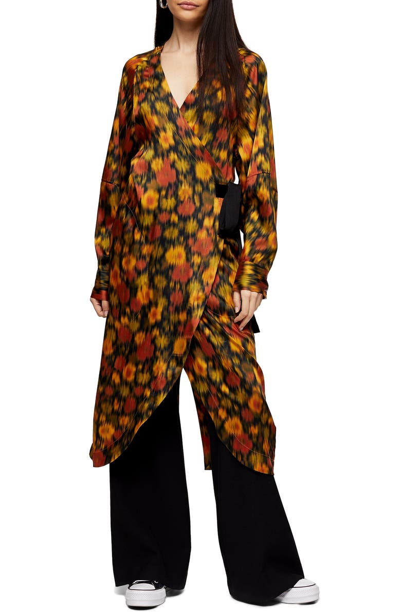 TOPSHOP BOUTIQUE Long Sleeve Floral Wrap Dress, Main, color, 800