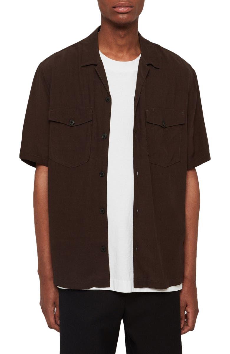 ALLSAINTS Vestal Slim Fit Short Sleeve Button-Up Camp Shirt, Main, color, DARK KHAKI GREEN