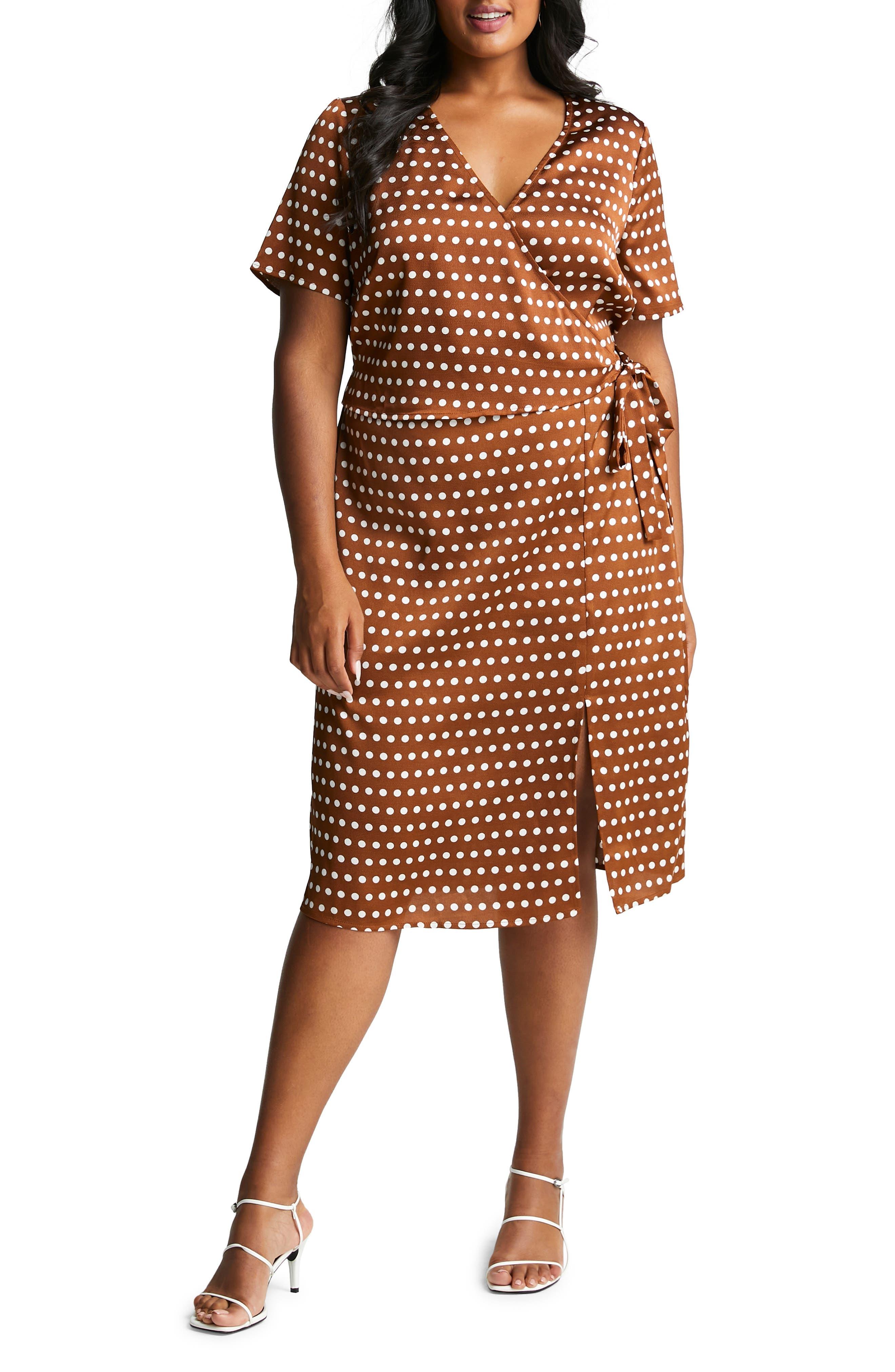 Plus Size Women's Estelle Seeing Spots Wrap Front Satin Dress