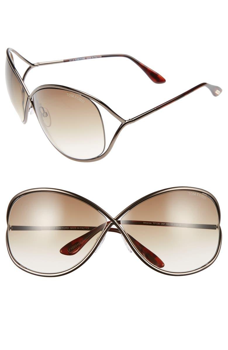 TOM FORD Miranda 68mm Open Temple Oversize Metal Sunglasses, Main, color, BRONZE
