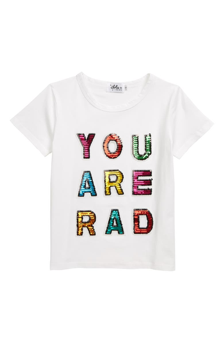 LOLA & THE BOYS You Are Rad Sequin T-Shirt, Main, color, WHITE