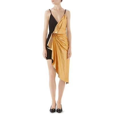 Gucci Asymmetrical Suede & Metallic Leather Dress, US / 44 IT - Metallic