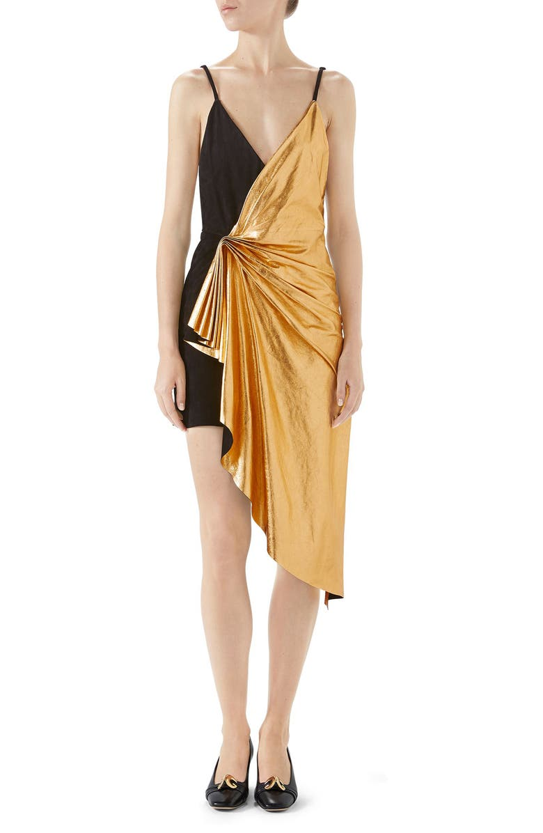 GUCCI Asymmetrical Suede & Metallic Leather Dress, Main, color, BLACK/ GOLD