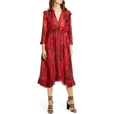 Ba & sh Sahara Snakeskin Print Midi Dress, Red