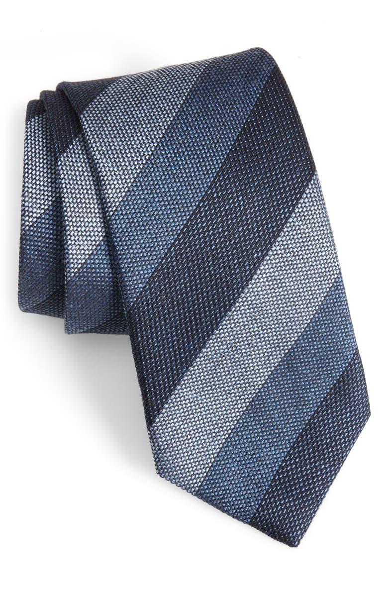 DAVID DONAHUE Stripe Silk Tie, Main, color, BLUE