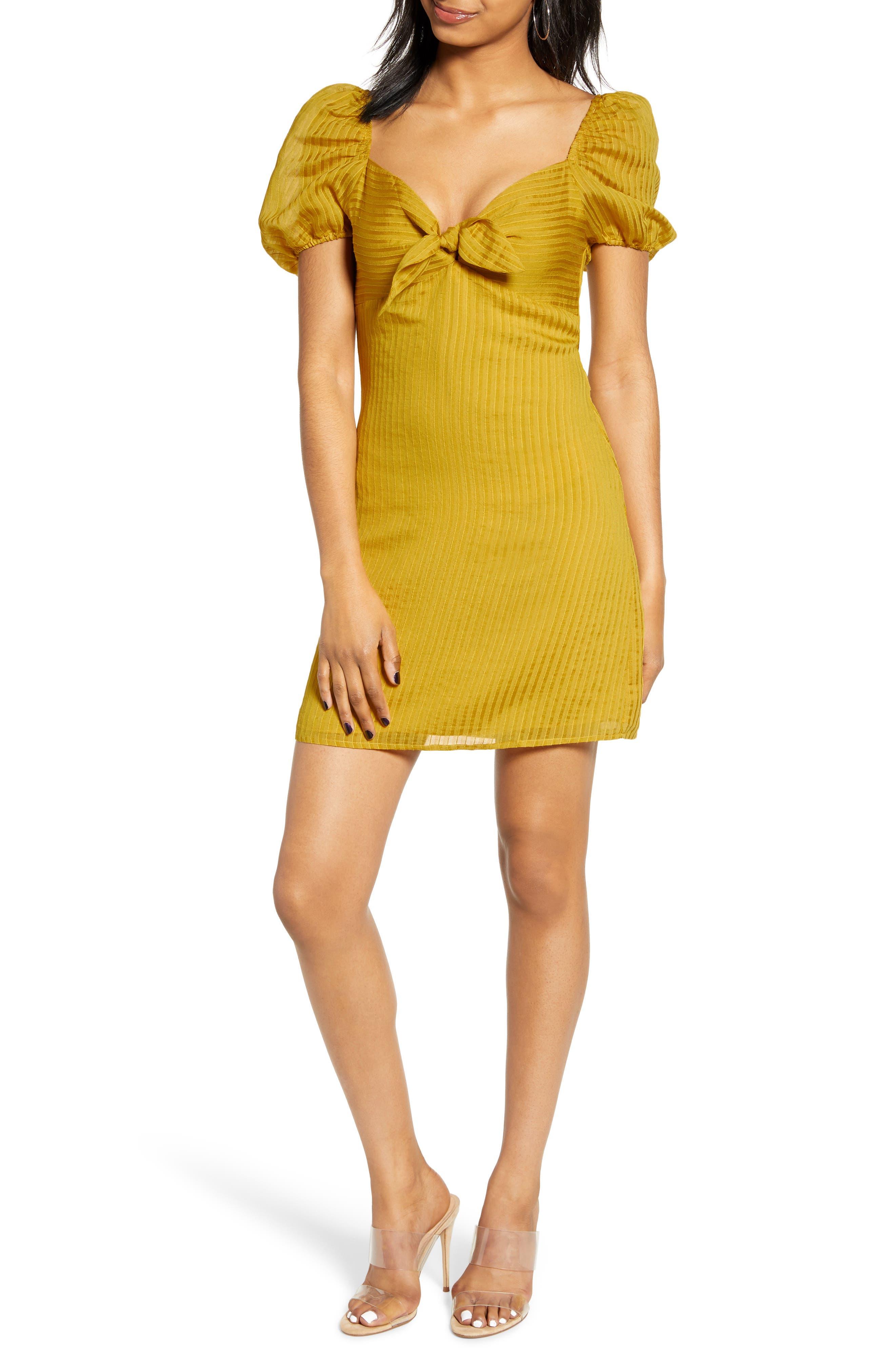 4Si3Nna Shadow Stripe Tie Front Minidress, Yellow