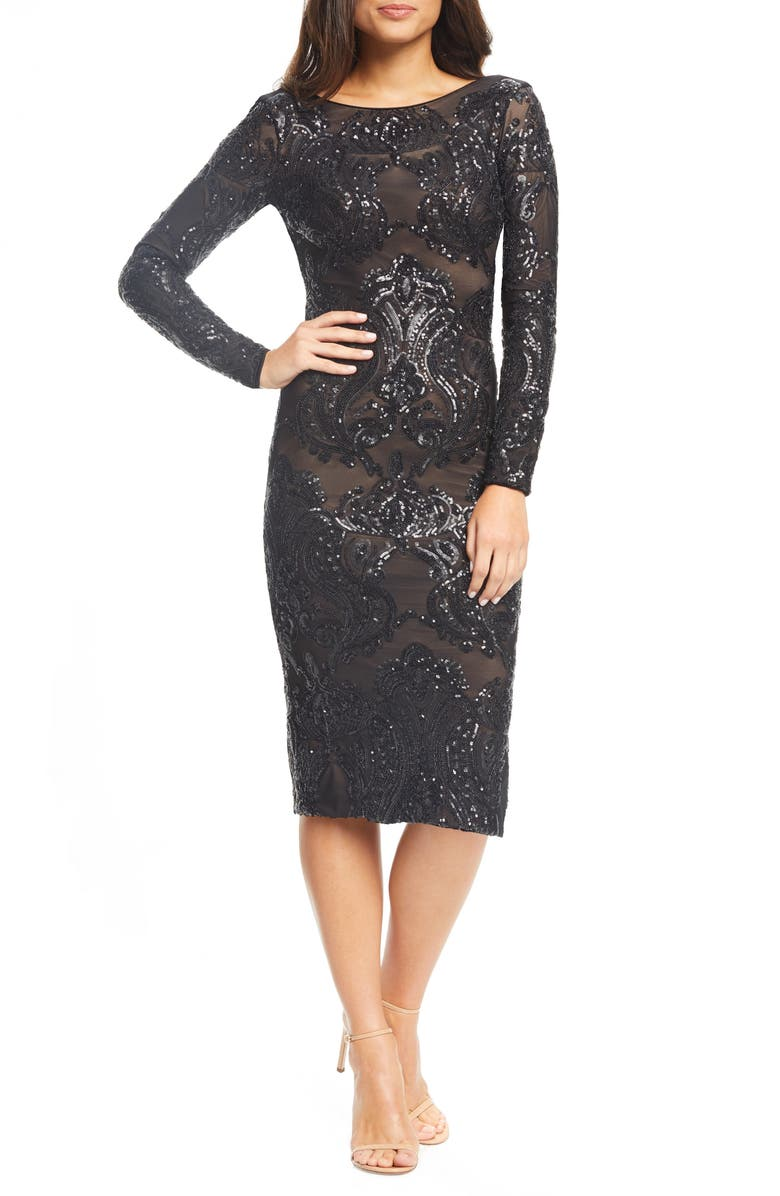 DRESS THE POPULATION Emery Sequin Sheath Dress, Main, color, 001