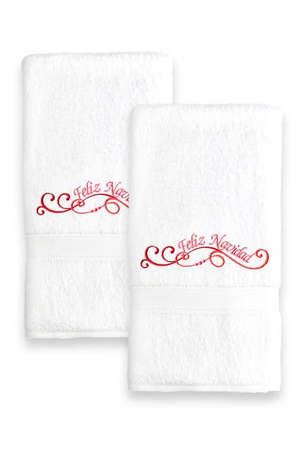 Image of LINUM HOME Feliz Navidad Swirls Embroidered Hand Towels - Set of 2