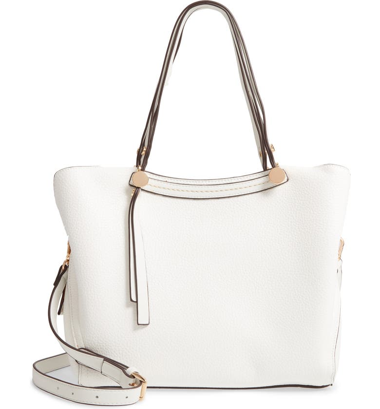 SONDRA ROBERTS Faux Leather Hobo, Main, color, WHITE