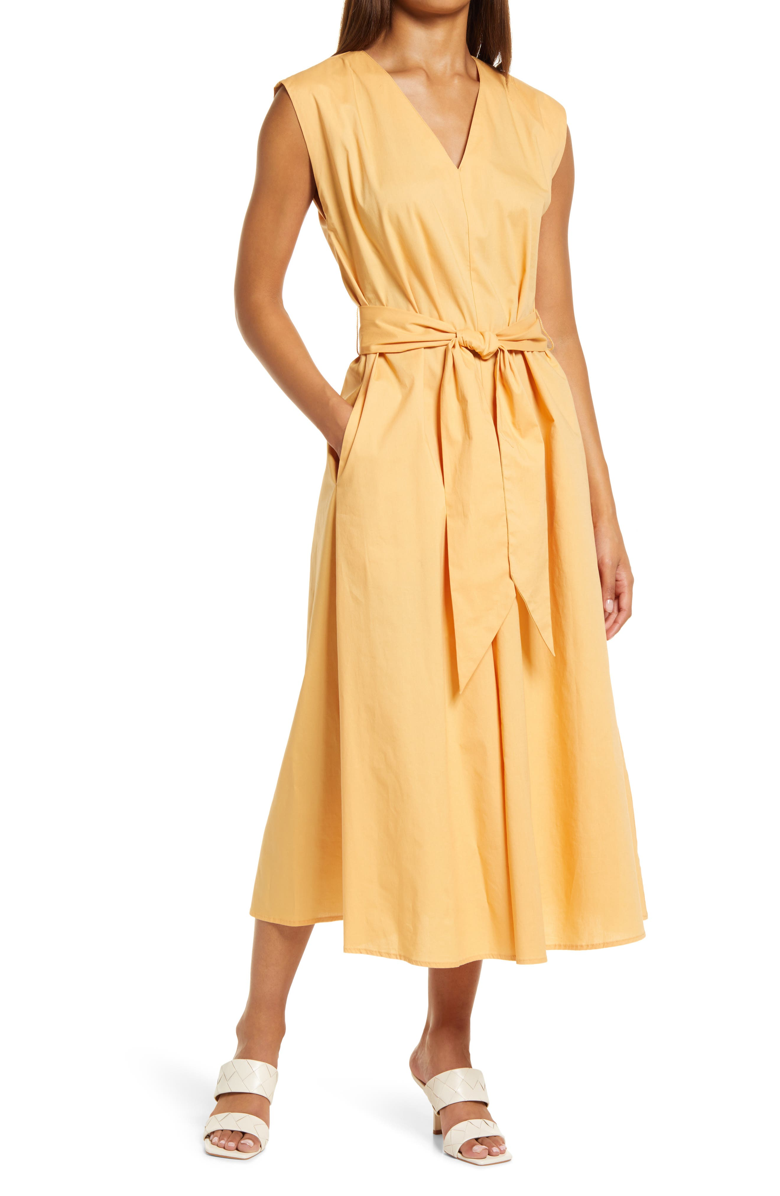 Poplin Faux Wrap Midi Dress