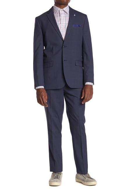 Image of Ben Sherman Navy Plaid Slim Fit 2-Piece Suit