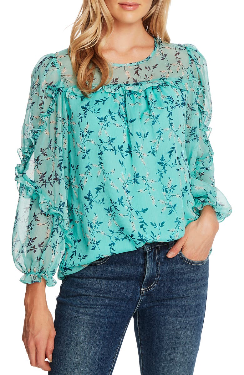 CECE Wisteria Vines Ruffled Long Sleeve Blouse, Main, color, TEAL POP