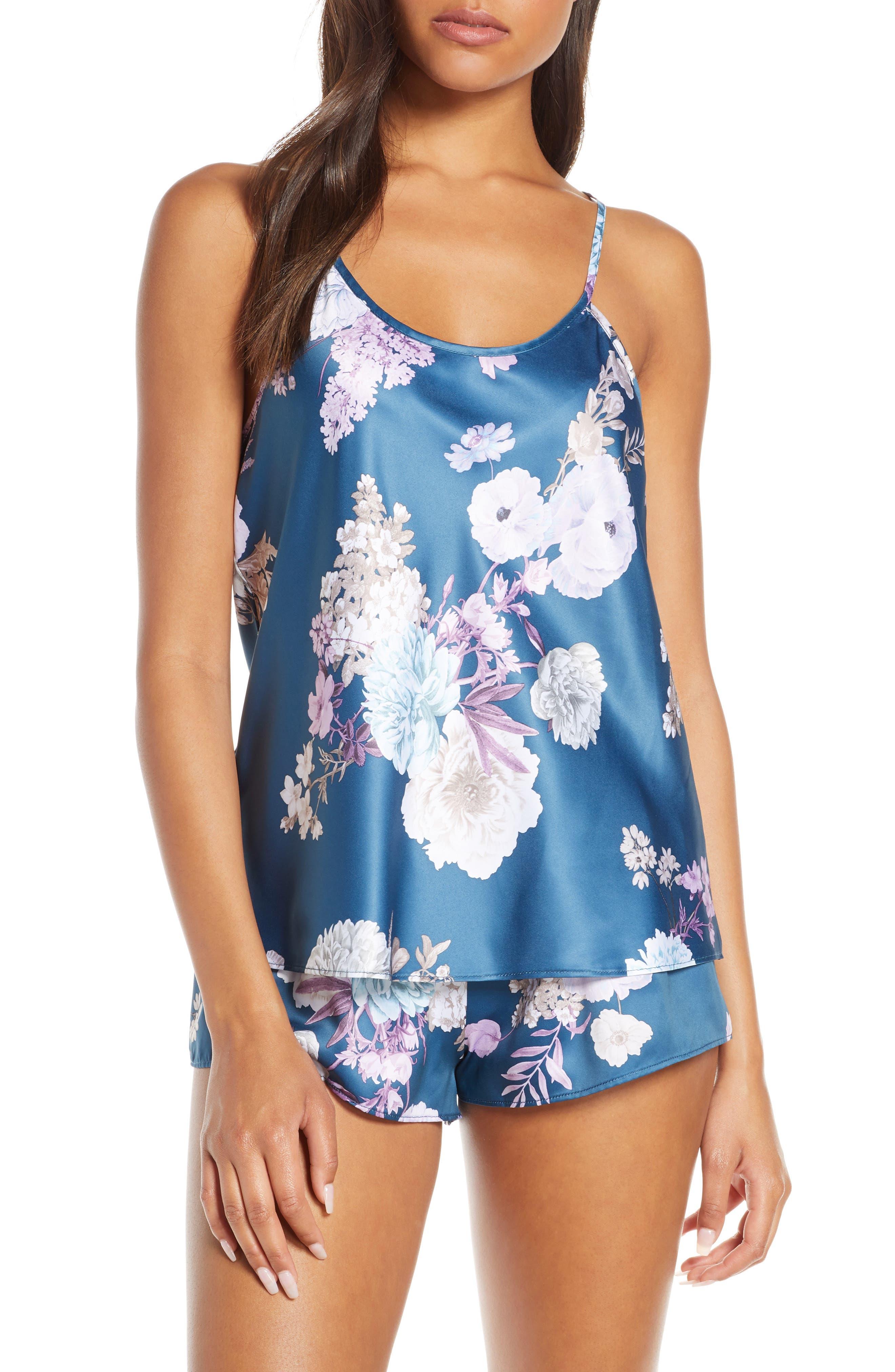 Flora Nikrooz Arisa Satin Short Pajamas, Blue