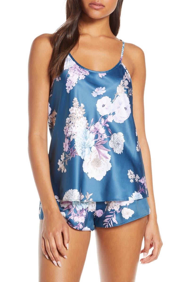FLORA NIKROOZ Arisa Satin Short Pajamas, Main, color, NAVY