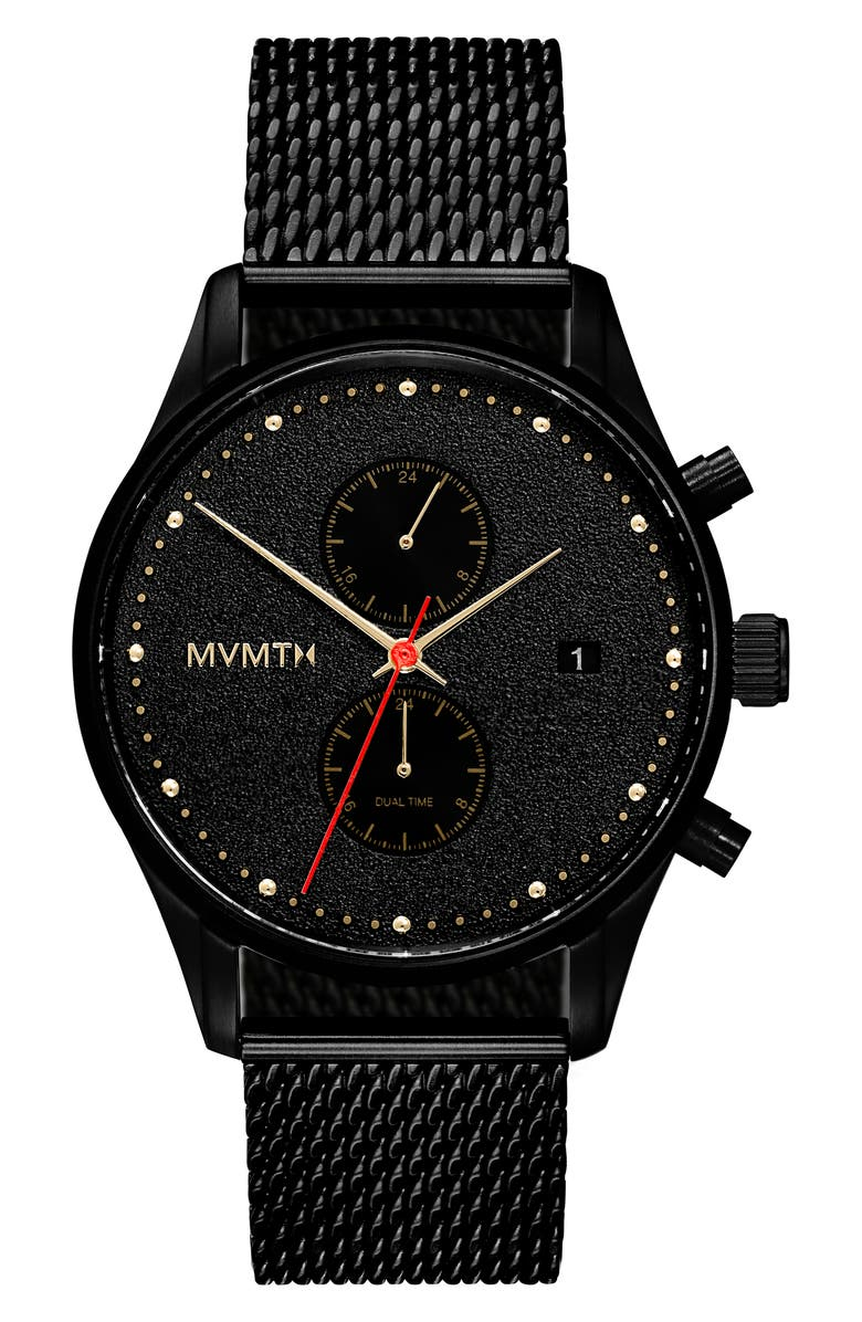 MVMT Voyager Caviar Chronograph Mesh Strap Watch, 42mm, Main, color, BLACK