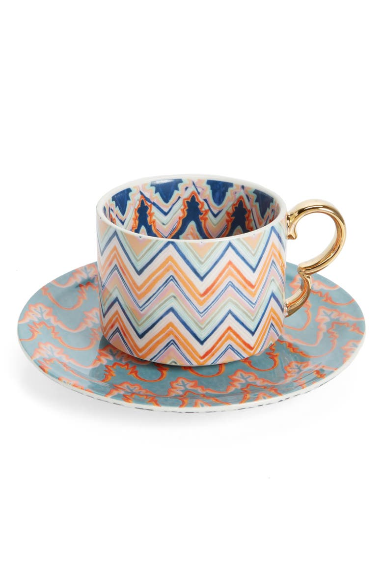 ANTHROPOLOGIE Chelsea Mug & Canapé Plate Set, Main, color, GEO TEAL
