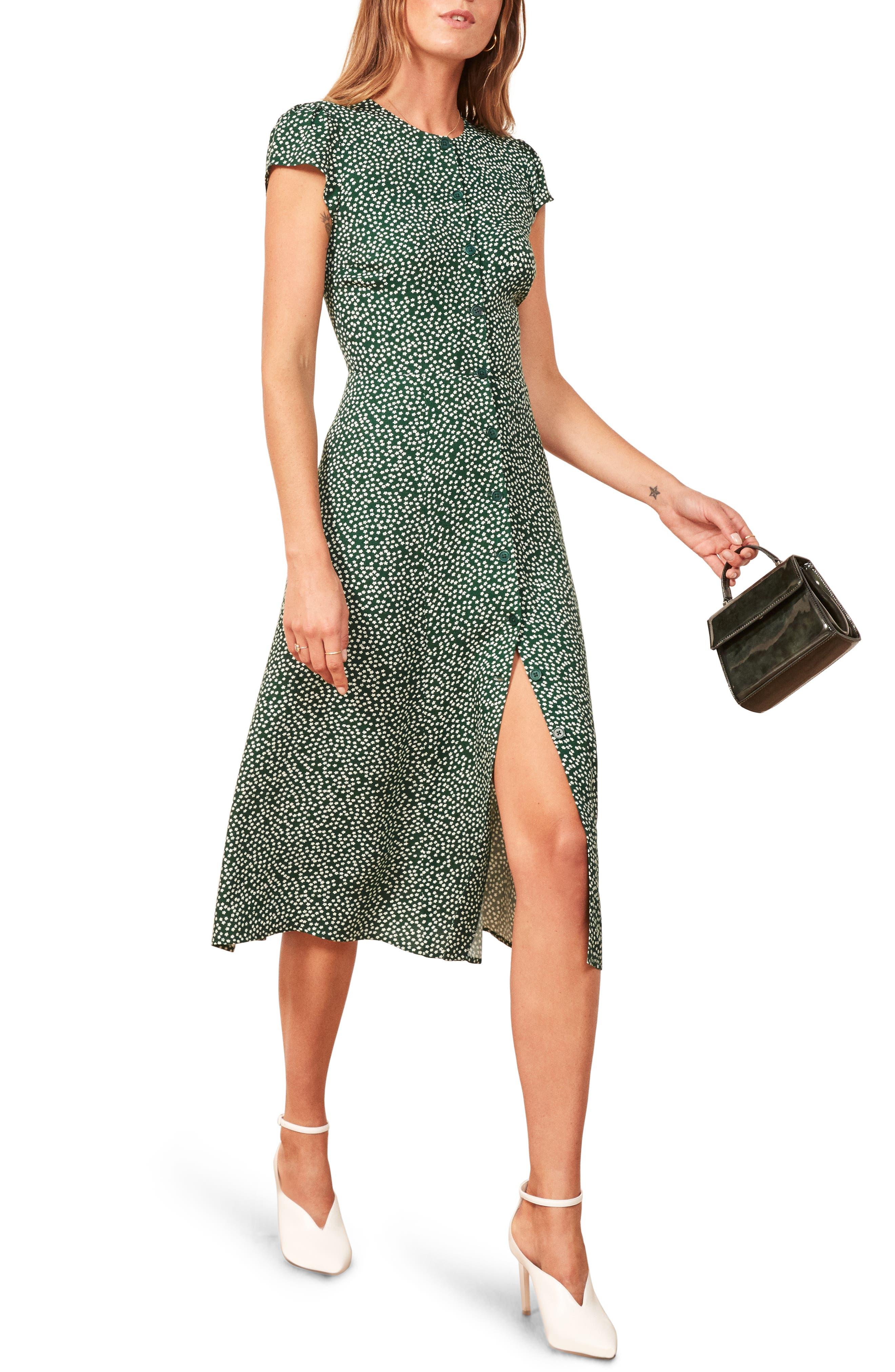 Reformation Fauna Front Button Midi Dress, Green