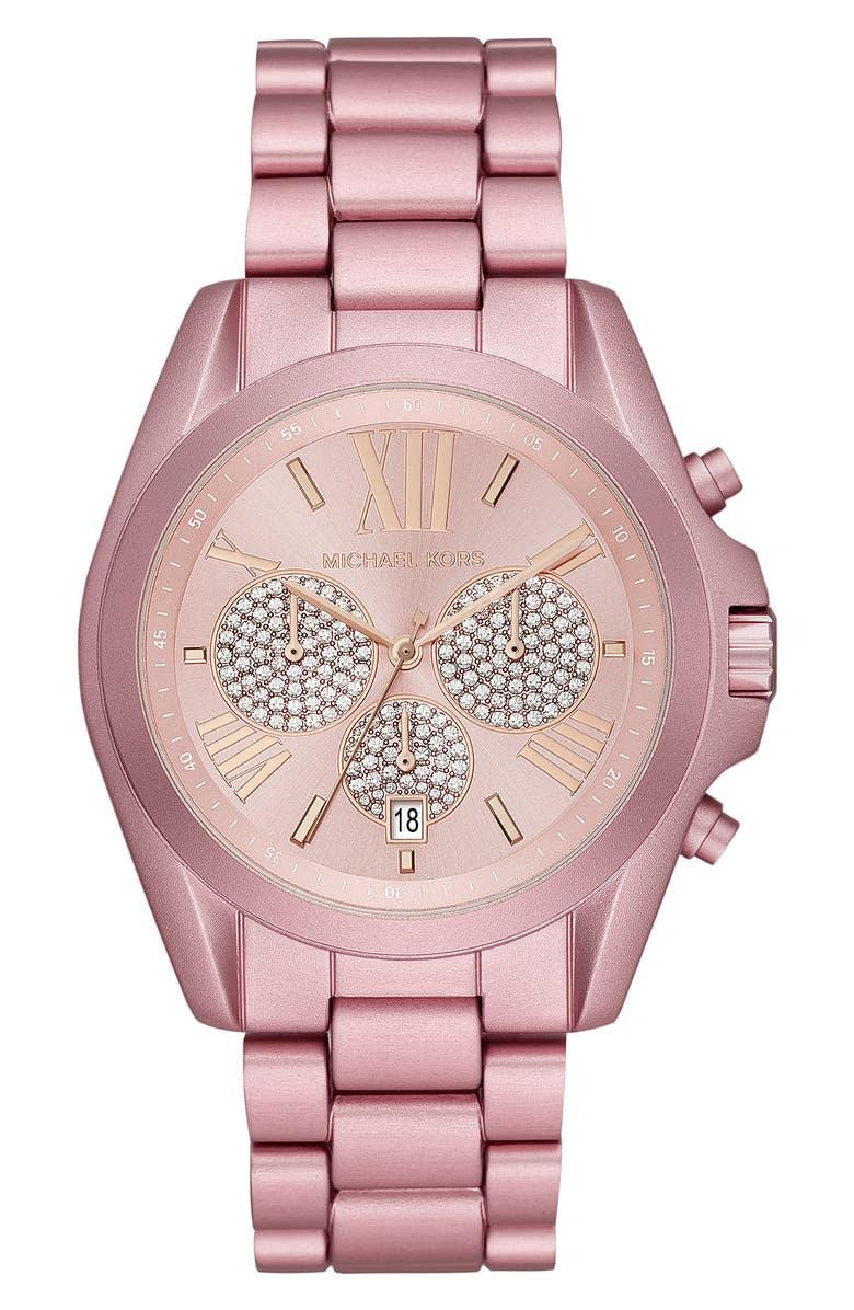 MICHAEL KORS Bradshaw Crystal Pavé Chronograph Bracelet Watch, 43mm, Main, color, PINK/ ROSE GOLD/ PINK