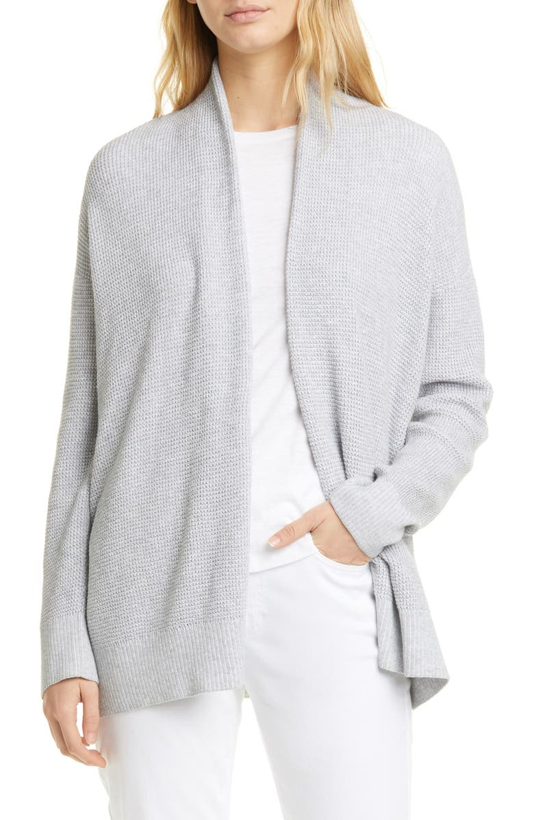 EILEEN FISHER Organic Cotton Open Front Cardigan, Main, color, DARK PEARL/ WHITE