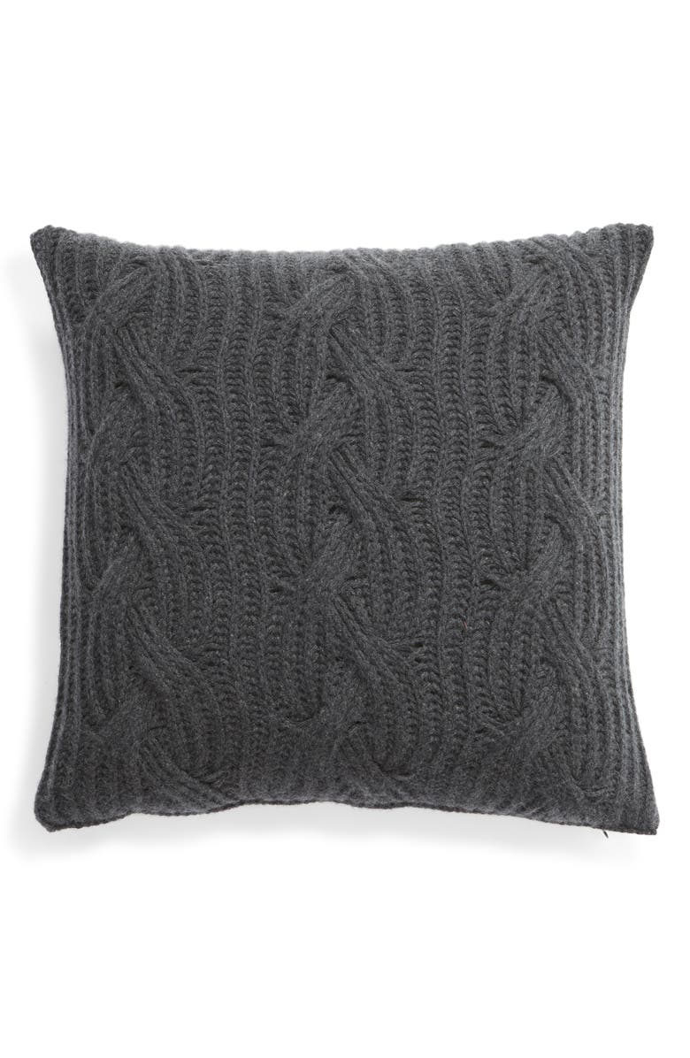 NORDSTROM SIGNATURE Cable Knit Cashmere Accent Pillow, Main, color, CHARCOAL HEATHER
