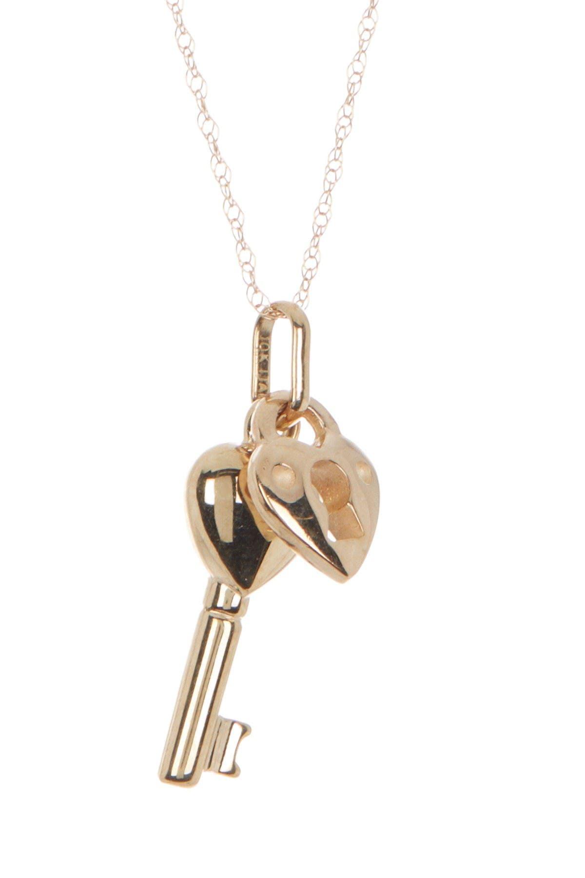 Image of Candela 10K Yellow Gold Lock & Key Pendant Necklace