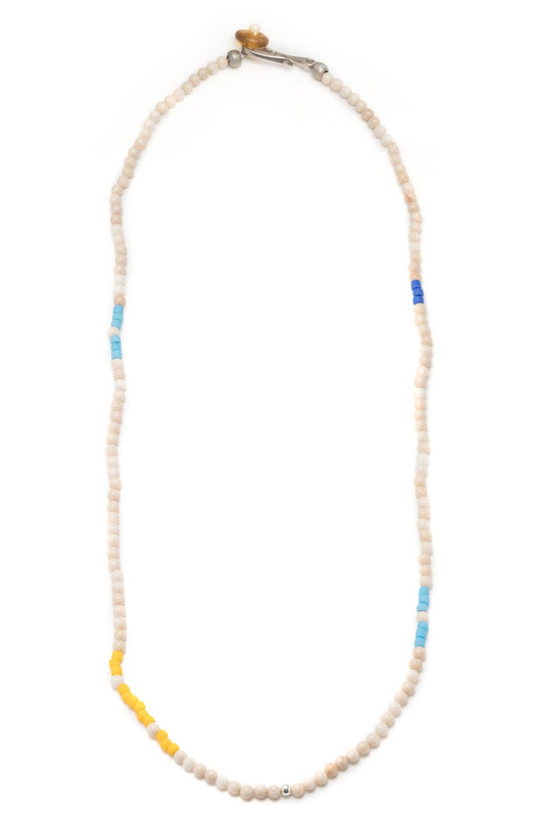 GEORGE FROST Irie Morse Necklace, Main, color, BLUE/ YELLOW/ WHITE