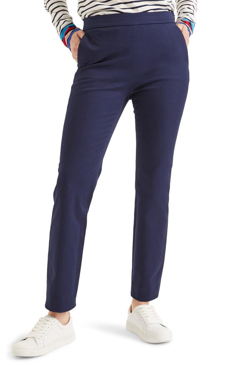 BODEN Bath Stretch Crop Pants, Main, color, NAVY