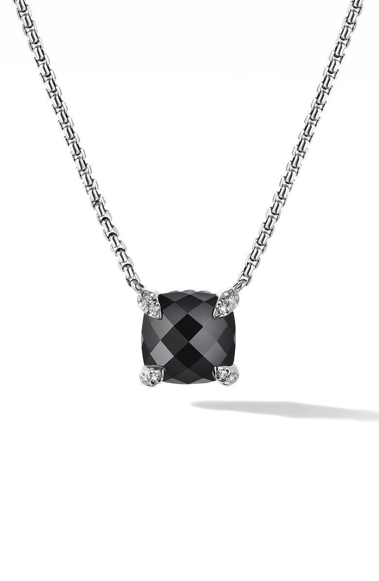 DAVID YURMAN Chatelaine<sup>®</sup> Pendant Necklace with Diamonds, Main, color, BLACK ONYX