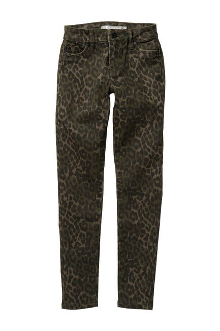 Image of Tractr Five Pocket Leopard Print Skinny Jeans