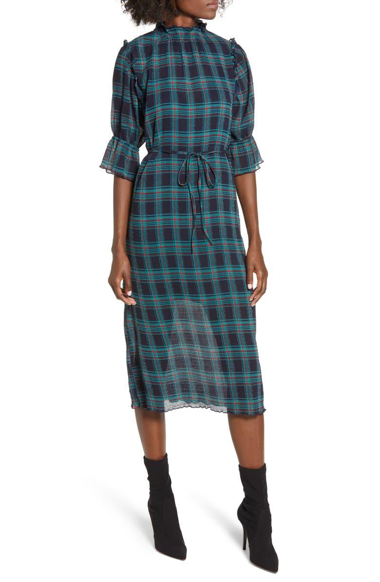 THE FIFTH LABEL Zone Tartan Midi Dress, Main, color, 400