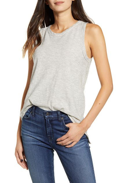 Current Elliott The Muscle Cotton Tank In White Black Tiny