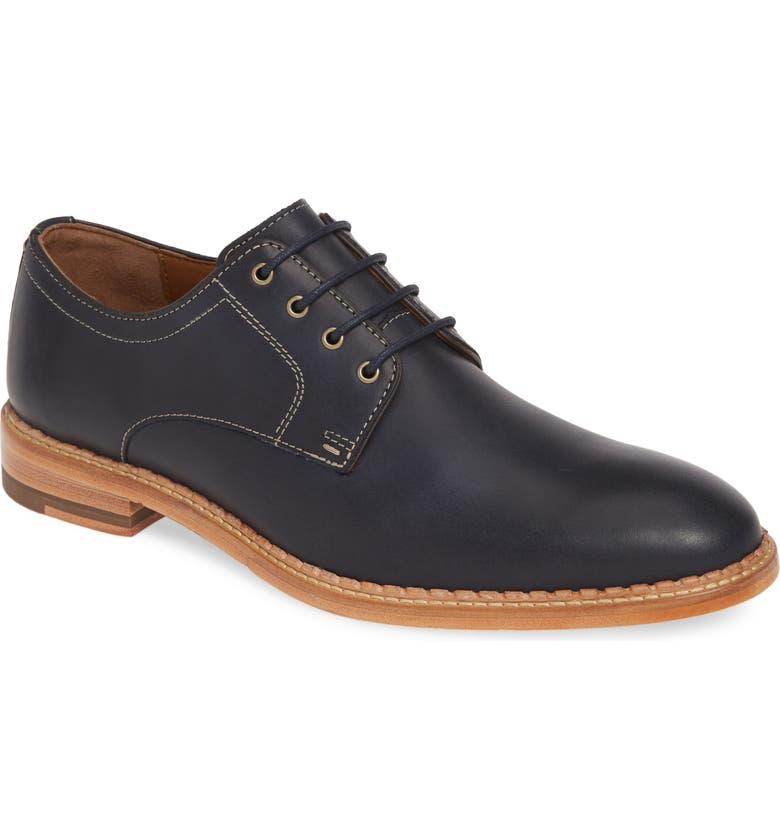 JOHNSTON & MURPHY J&M 1850 Chambliss Plain Toe Derby, Main, color, NAVY OILED LEATHER