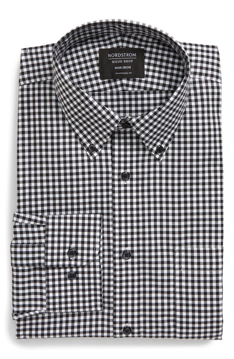 NORDSTROM MEN'S SHOP Traditional Fit Non-Iron Gingham Dress Shirt, Main, color, BLACK