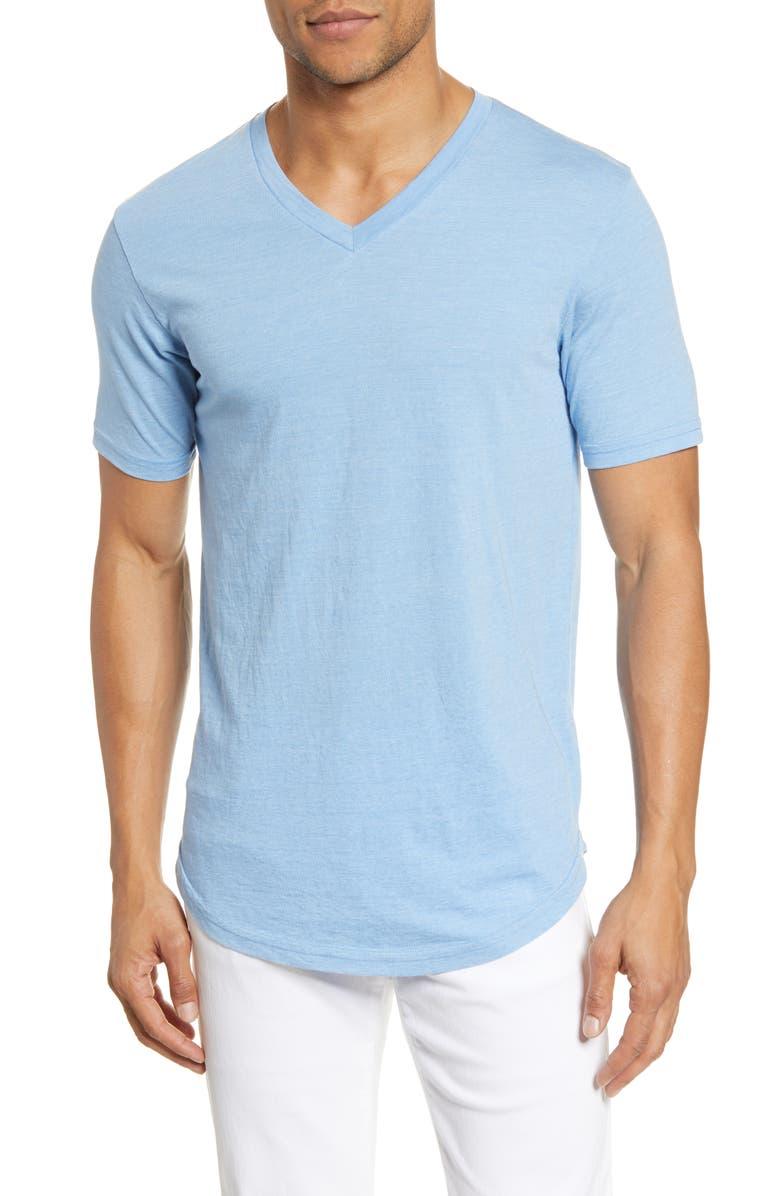 GOODLIFE Scallop Triblend V-Neck T-Shirt, Main, color, BLUE BELL