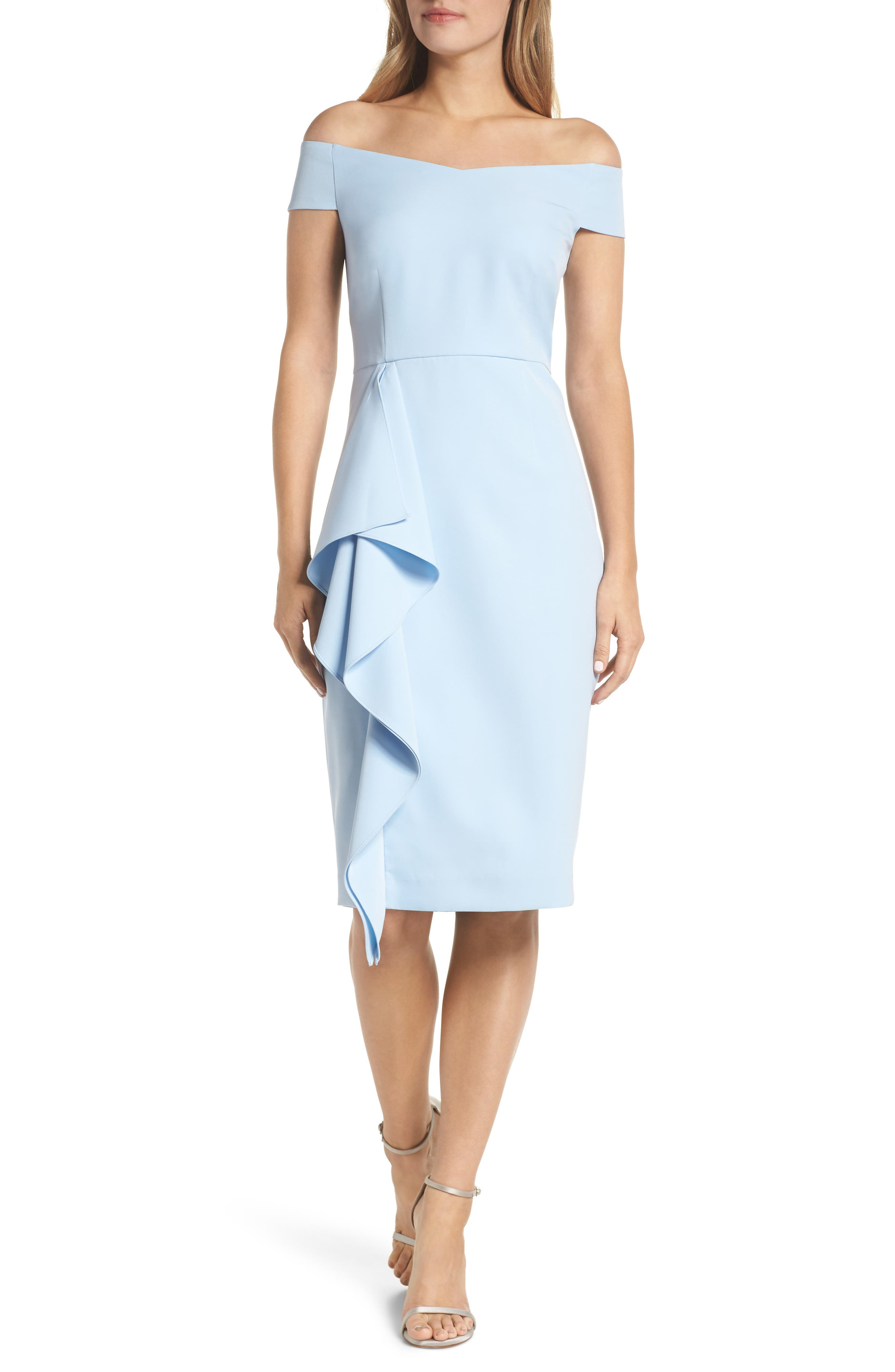 Vince Camuto Off The Shoulder Front Ruffle Cocktail Dress, Blue