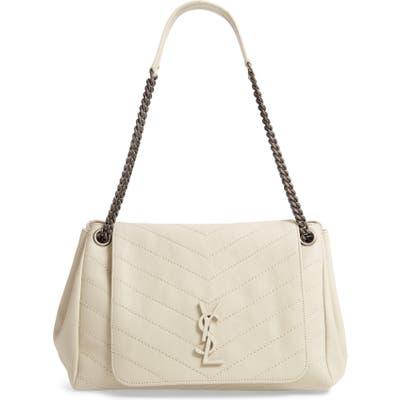 Saint Laurent Medium Nolita Leather Shoulder Bag - White