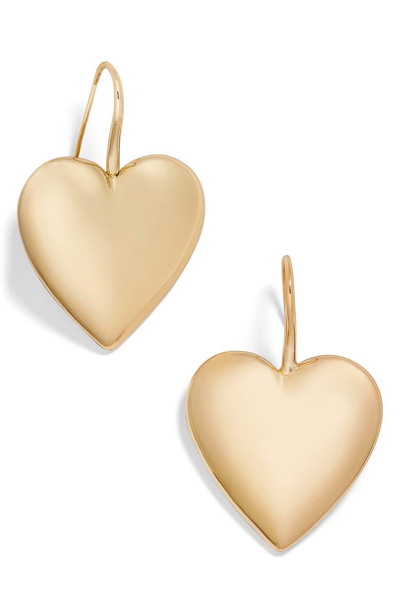 BAUBLEBAR Viviane Heart Drop Earrings, Main, color, GOLD