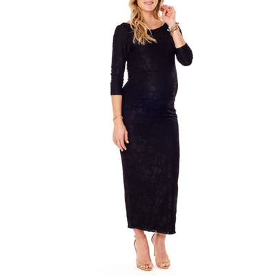 Ingrid & Isabel Lace Column Maternity Maxi Dress, Black
