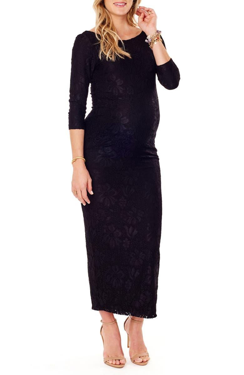 INGRID & ISABEL<SUP>®</SUP> Lace Column Maternity Maxi Dress, Main, color, JET BLACK
