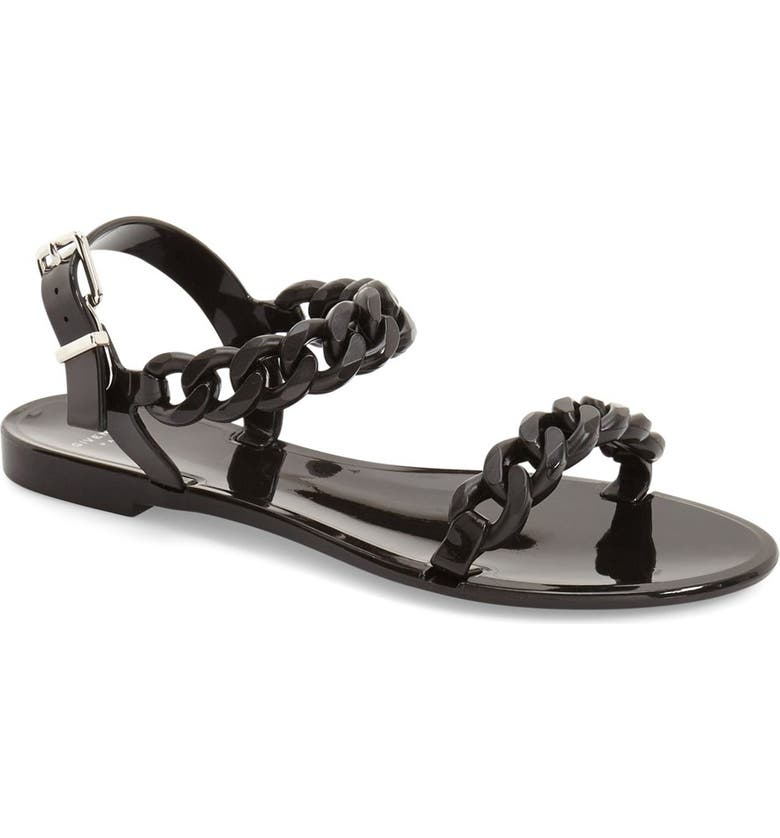 GIVENCHY 'Nea Chain' Logo Jelly Sandal, Main, color, 001