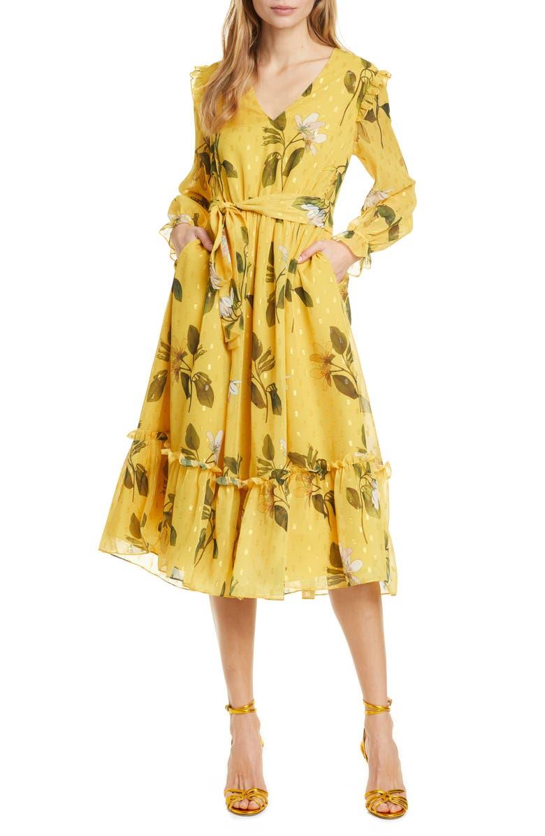 TED BAKER LONDON Elissea Savanna Long Sleeve Dress, Main, color, YELLOW